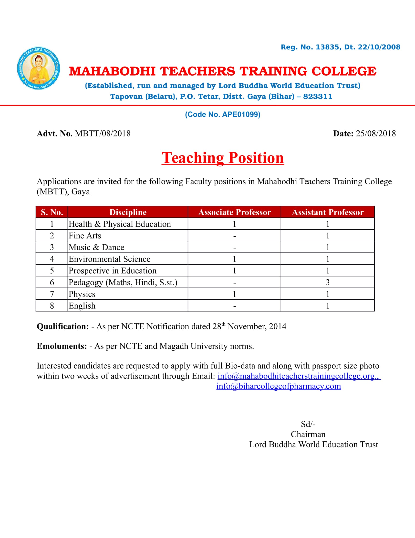 VACANCY FOR THE TEACHING POSITION IN EDUCATION – Mahabodhi Teachers